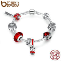 BAMOER 925 Sterling Silver Chinese New Year Lantern Doll Clear CZ Red Enamel Charm Bracelet Sterling
