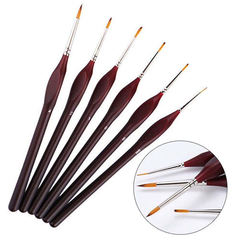 6pcs Professional Wooden Handle Artist Detail Paint Brushes Outline Painting Set For Craft Tools mgpm63 300 smc thin three axis cylinder with rod air cylinder pneumatic air tools mgpm series