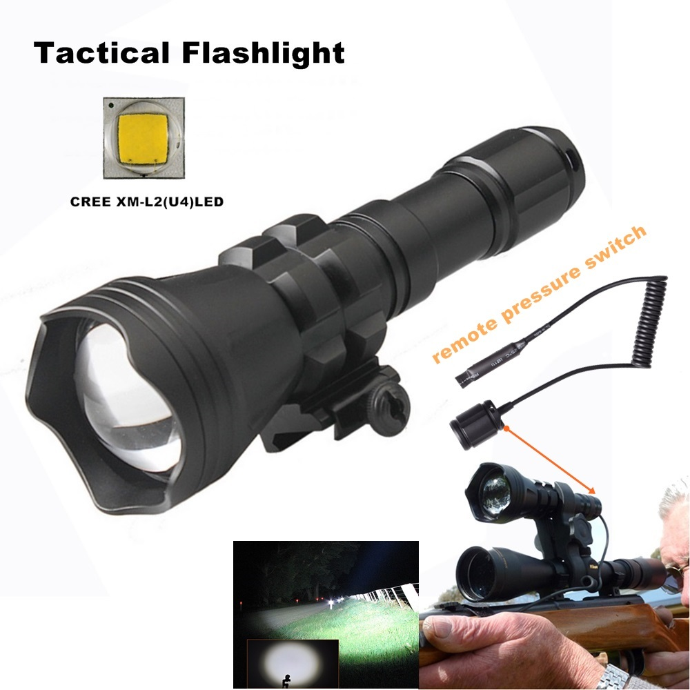CREE XM-L2 U4 LED tactical Gun flashlight zoomable led flashlight 18650 waterproof zoom torch waterproof zooming flashlight-B158 led flashlight 3800 lumnes cree xm l t6 led tactical flashlight torch 5mode zoomable flashlight waterproof torch light lanternas