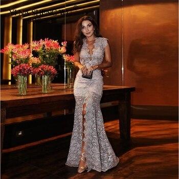 Sexy Split Sirena Vestido De Noche 2019 Vestidos Largos De