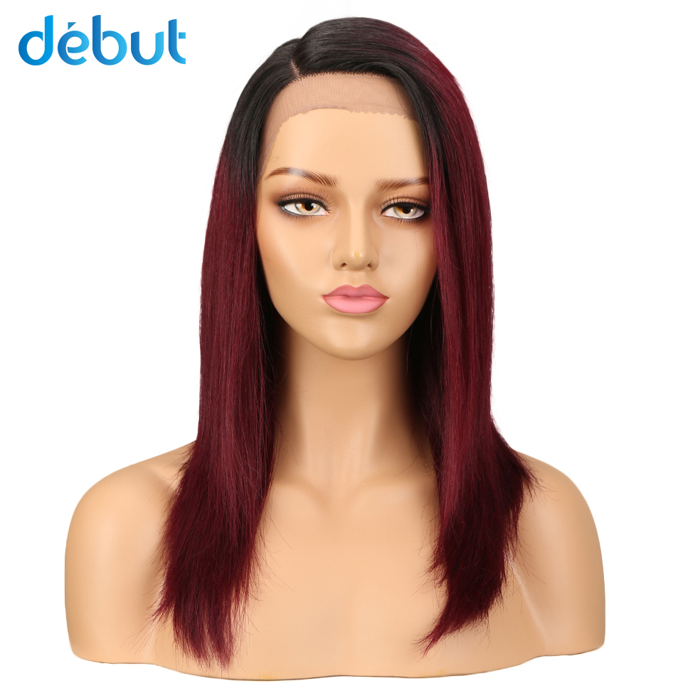 Debut Remy Brazilian Lace Front Human Hair Wigs Silky Straight TT1B/99J Ombre Color Human Hair Wigs Left Side Lace Closure