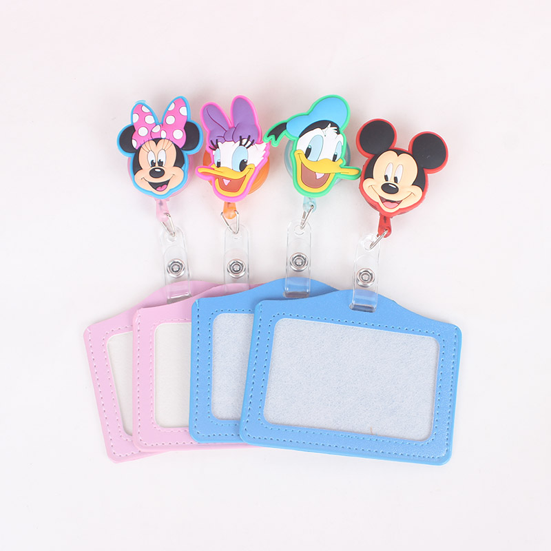 Cute Silicone Card Case Holder Bank Credit Card Holders Card Bus ID Holders Identity Badge With Cartoon Retractable Reel