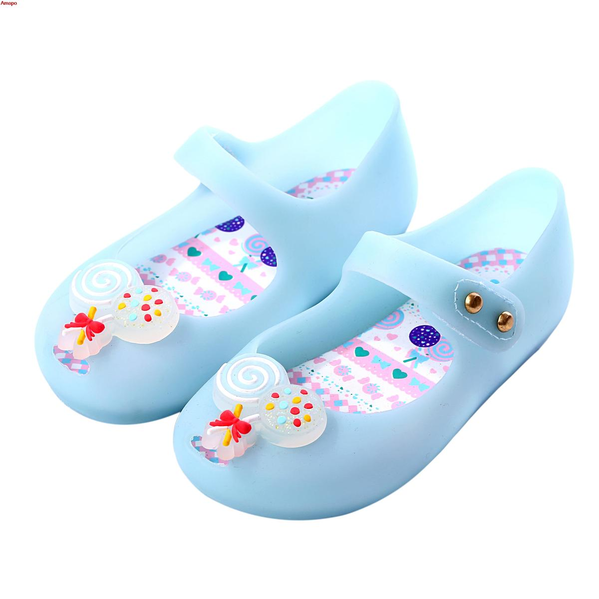 Summer 2018 Mini Melissa New Style Girls Sandals Blue Candy Cute Style Baby Shoes Jelly Soft Insole PVS Shoe Size 6-11