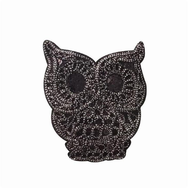 Women boy clothes embroidery black patch deal with it 10cm owl animal iron on patches for clothing t shirt/jeans free shipping