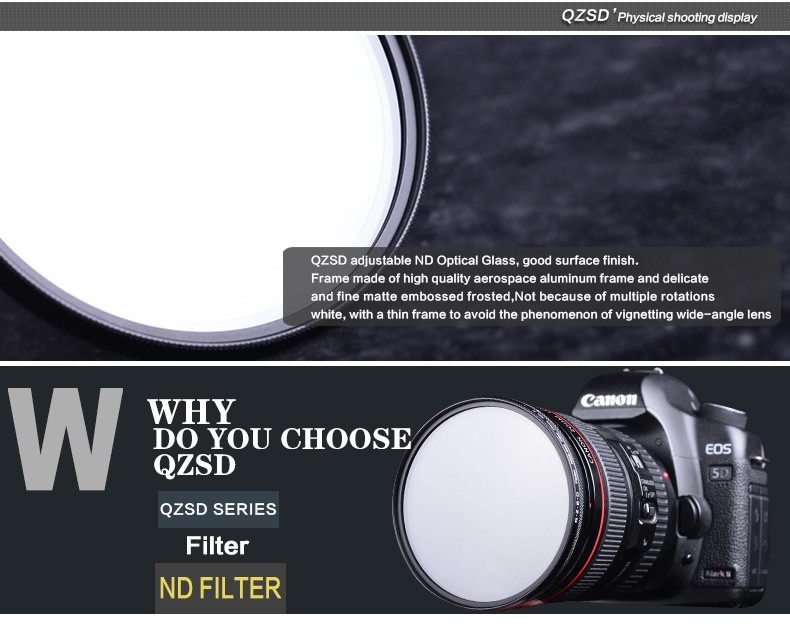 Qingzhuangshidai 77mm ND2-ND400 Vario ND Variable Neutral Density Camera Lens Filter for Canon Nikon Sony SLR Camera 5