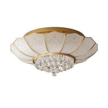 Americano real latón Dia.65cm luces de techo vestíbulo dormitorio restaurante K9 de cristal de techo lámparas 6 piezas E27 accesorio de iluminación