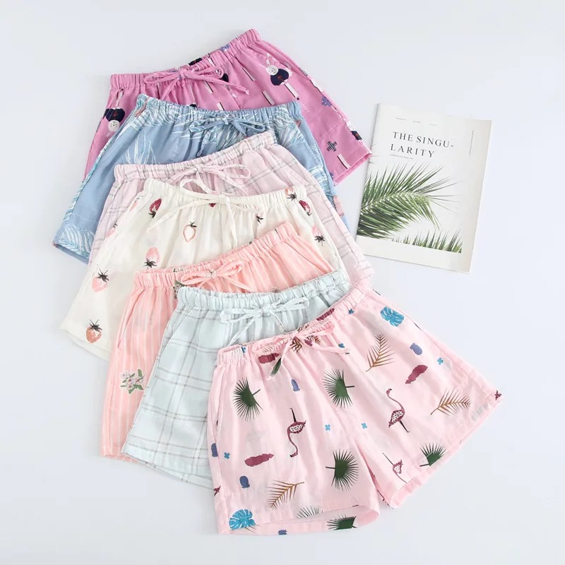 2019 Hot Sale Summer Fresh Shorts Sleep Women Bottoms Soft 100% Gauze Cotton Women Home Pajamas Pants Women Shorts Pyjamas