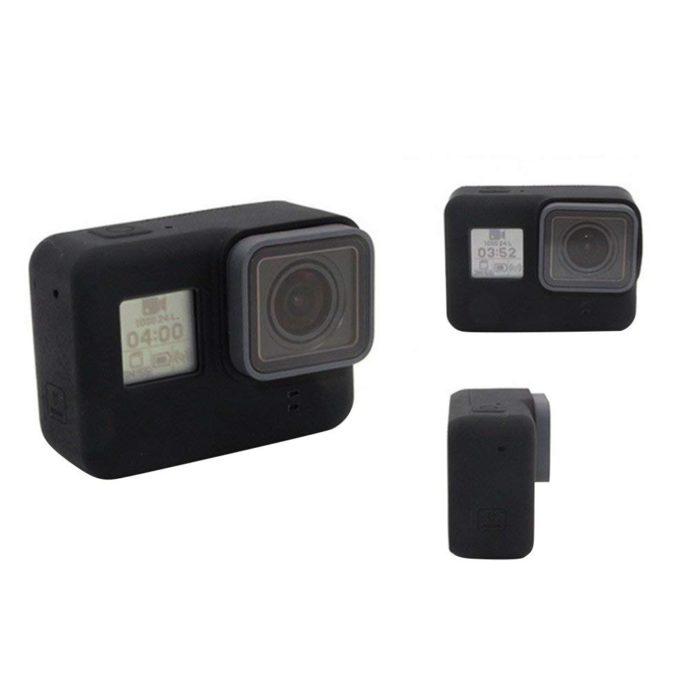 Silicona Carcasa Funda Cubierta Protectora Lente Tapa para GoPro Hero 7 Negro