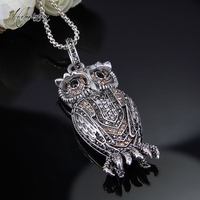 Thomas Big OWL Pendant Necklace in Plated, European TS OWL Pendant Necklace Fashion Jewelry for Women and Men