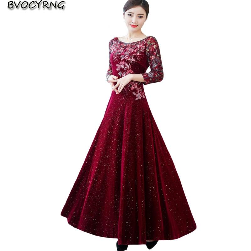 2019 dentelle brodée or velours robe femme nouvelle grande taille slim longue grande balançoire robe femmes à manches longues automne bas robes