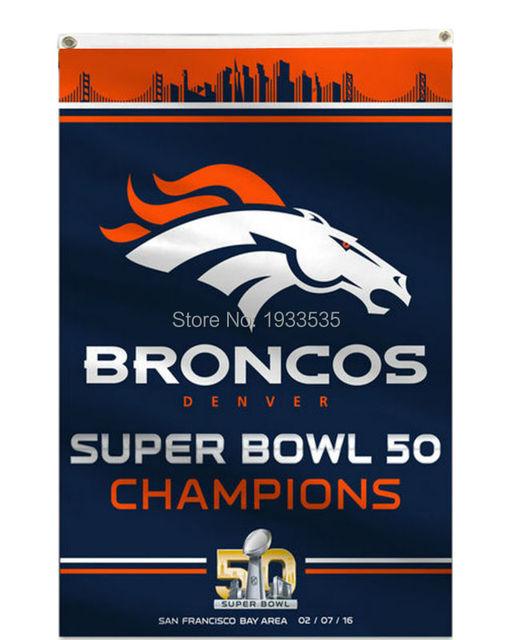 b7822d26253d New Denver Broncos Super Bowl 50 Champion Blue Flag 3  x 5  Banner holes  Flag