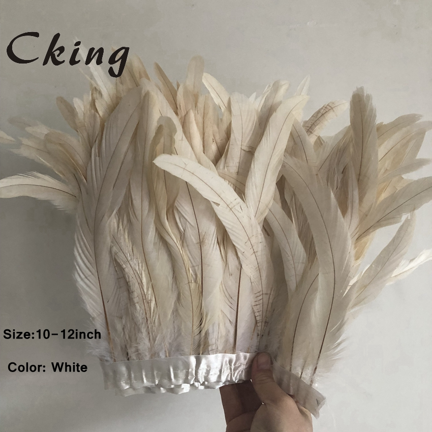 25-30cm 34 Colours Chicken Rooster Tail Feather Trim Strip For Wedding Dress Skirt Party Clothing Decoration & DIY Craft Making