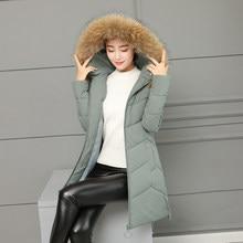 b11b8e1f488 2018 Warm Hooded Fur Collar Overknee Long Parka Plus Size Winter Jacket  Women Coat Thick Cotton
