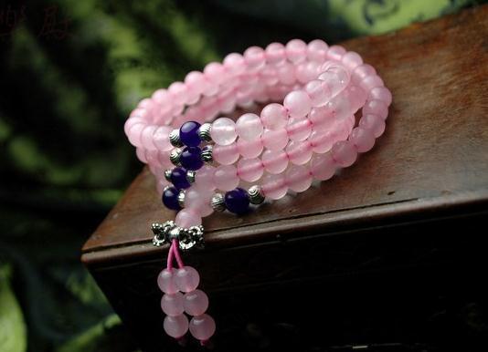 108 Natural rosa calcedônia prata Tibetana polpa roxo jade pulseira de miçangas, pulseira de miçangas, bracelete de cristal natural.