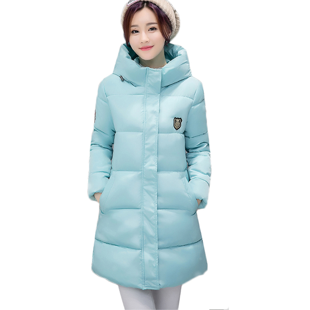 52e2d3041eb7 NEW Female Winter Jacket Thicken Cotton-padded Parka Coat Slim Large size Hooded  Medium long