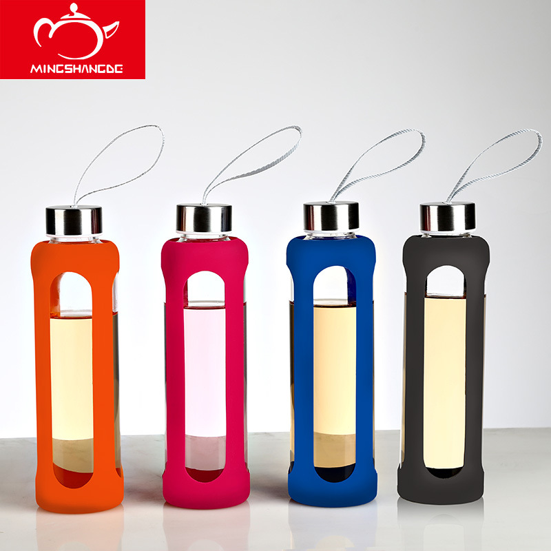 New 550CC Sport Glass Water Bottle Kettle With Silicone Insulation Creative Drinkware Botella Agua Cristal 11