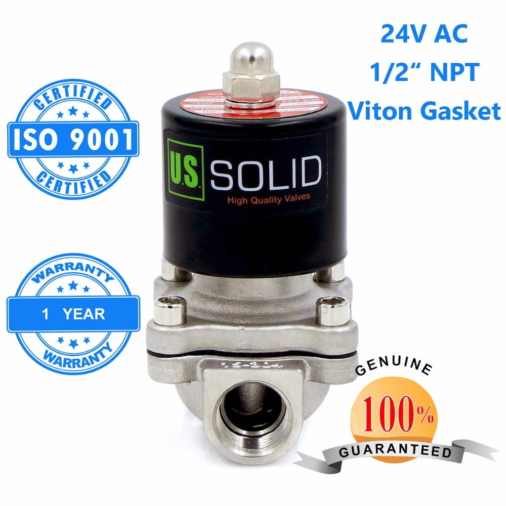 U.S. Solid 1/2 Stainless Steel Electric Solenoid Valve 24V AC NPT Thread Normally Closed water, air, diesel... ISO Certified u s solid 3 4 stainless steel electric solenoid valve 110 v ac g normally closed diesel kerosine alcohol air gas oil water