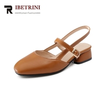 ФОТО ribetrini 2018 fashion plus size 32-43 brand shoes women sandals summer shoes woman buckle strap chunky heels black brown shoes