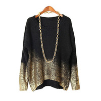 Women Winter Sweater Woman Clothing Autumn Female Pullovers Knitted Black Batwing Sleeve Gold Gradient Hem Sweater SA352