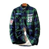 2017 Men Flannel Plaid Shirt 100 Cotton 68 Printing Casual Long Sleeve Shirt Soft Comfort Slim