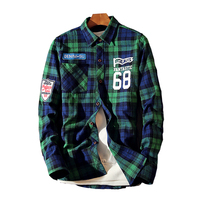 2017 Men Flannel Plaid Shirt 100 Cotton 68 Printing Casual Long Sleeve Shirt Soft Comfort Slim