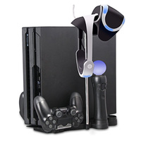 PS4 Slim PS4 Pro Multi Function Storage Bracket Base Vertical Stand Holder Dual Controller Charging Station+VR Headset Hanging