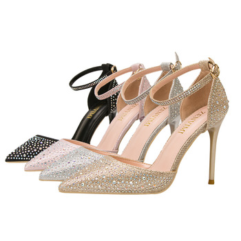 Gold Slide Sandals | Women Shoes Luxury High Heels Sandals Glitter Bling Pointed Toe Slides Fashion Crystal Buckle Pumps Gold Silver Pink Black
