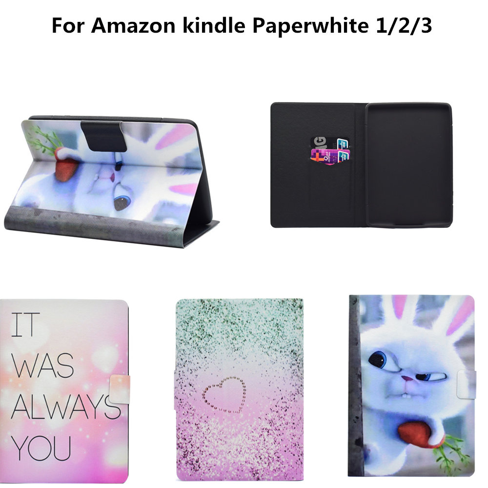 PU Leather Stand Case Cover Fundas for Amazon Kindle Paperwhite 1 2 3 2016 2015 2013 2012 6th generation 6'' E-BOOK Cute cases xx fashion pu leather cute case for amazon kindle paperwhite 1 2 3 6 e books case stand style protect flip cover