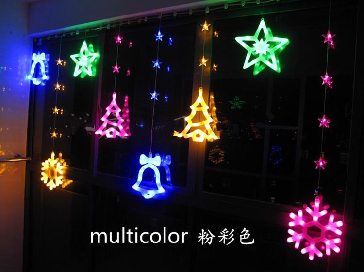 led star lantern string lights stars decorative lights 184 snowflakes wind chimes stars Christmas tree curtain lights 3M x 1.3M 3d christmas tree and stars print flocking hoodie