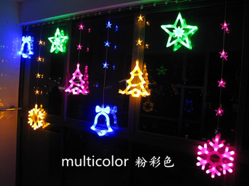 led star lantern string lights stars decorative lights 184 snowflakes  wind chimes stars Christmas tree curtain lights 3M x 1.3M