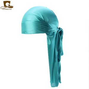 Image 3 - Wholesale Durag Men Solid Color Silk Durags Women Breathable Turban Fashion Hair Bands 13Pcs/package