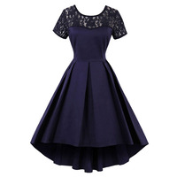 Sisjuly Women S Vintage Dress Summer Short Sleeve Patchwork Lace Hollow Out Mid Calf O Neck