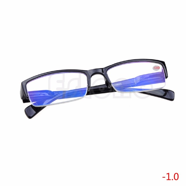 1 PC New Comfy Ultra Light Reading Semi-rimless Eyeglass Myopia Glasses Black Frames -1 -1.5 -2 -2.5 -3 -3.5 -4 Christmas Gifts
