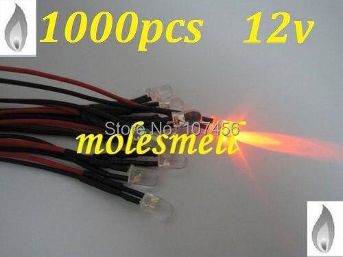 จัดส่งฟรี 1000pcs 5 มม.ORANGE Flicker 12V Pre Wired น้ำล้าง LED LEDs เทียน ORANGE LIGHT 20 ซม.