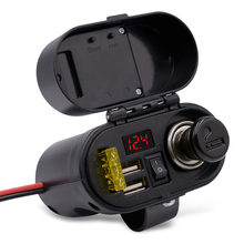 CS – 682A1 Motorcycle Cigarette Lighter USB Charger with Voltmeter Time Display