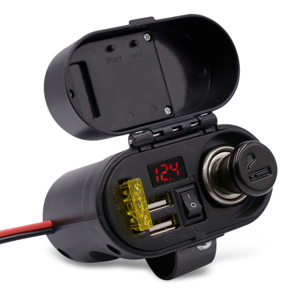 Motorcycle Cigarette Lighter USB Charger With Voltmeter Time Display