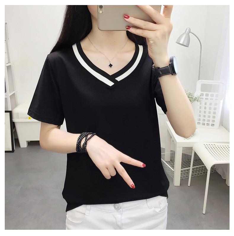 4XL 5XL Plus Size Korean Women's Clothing Fashion Big Size T-shirt Female V neck Short Sleeve Casual obesity Tee Shirt Top Femme 44