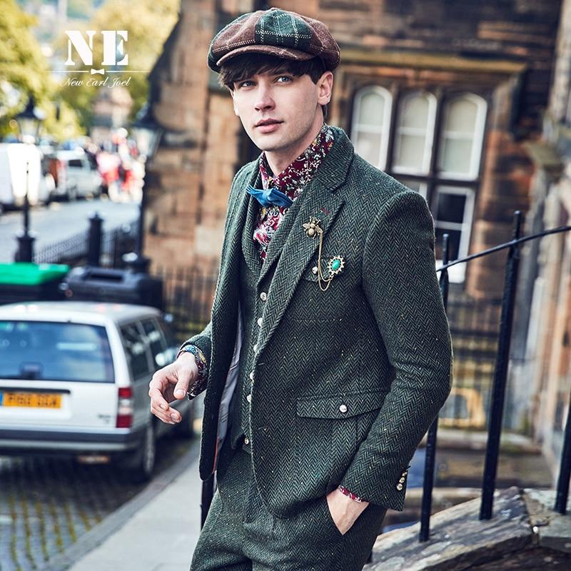 EAROL brand clothing England slim fit blazers designs men casual blazers jacket 53.6%Wool tweed stylish blazers costume stage