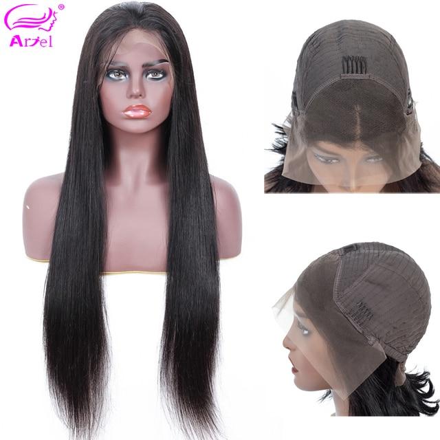 Парики из натуральных волос на кружевной основе Remy, прямые парики с волосами младенца, индийские, коричневые, 13*4, парик из бесклеевого фронтального парика