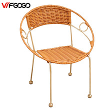 WFGOGO Furniture Rattan Indoor-Outdoor Restaurant Stack Small Chair Armchair All Weather Outdoor Patio Garden Chairs