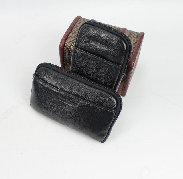 2017 Nuevos Hombres de Cuero Genuino de La Vendimia Celular/Teléfono Móvil Caso de la Cubierta de la piel de La Cadera Bum Cinturón Riñonera Bolso de la Cintura bolsa