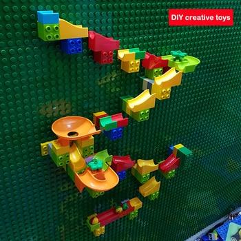 Criativo bloco de construção compatível legoinglys duploed placa base parede mármore corrida pista baseplate diy tijolo brinquedo para crianças