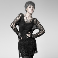 Punk Gothic SWEATER Visual Kei Fashion Kera Black Shirt Top TOP Black Steampunk Pullover