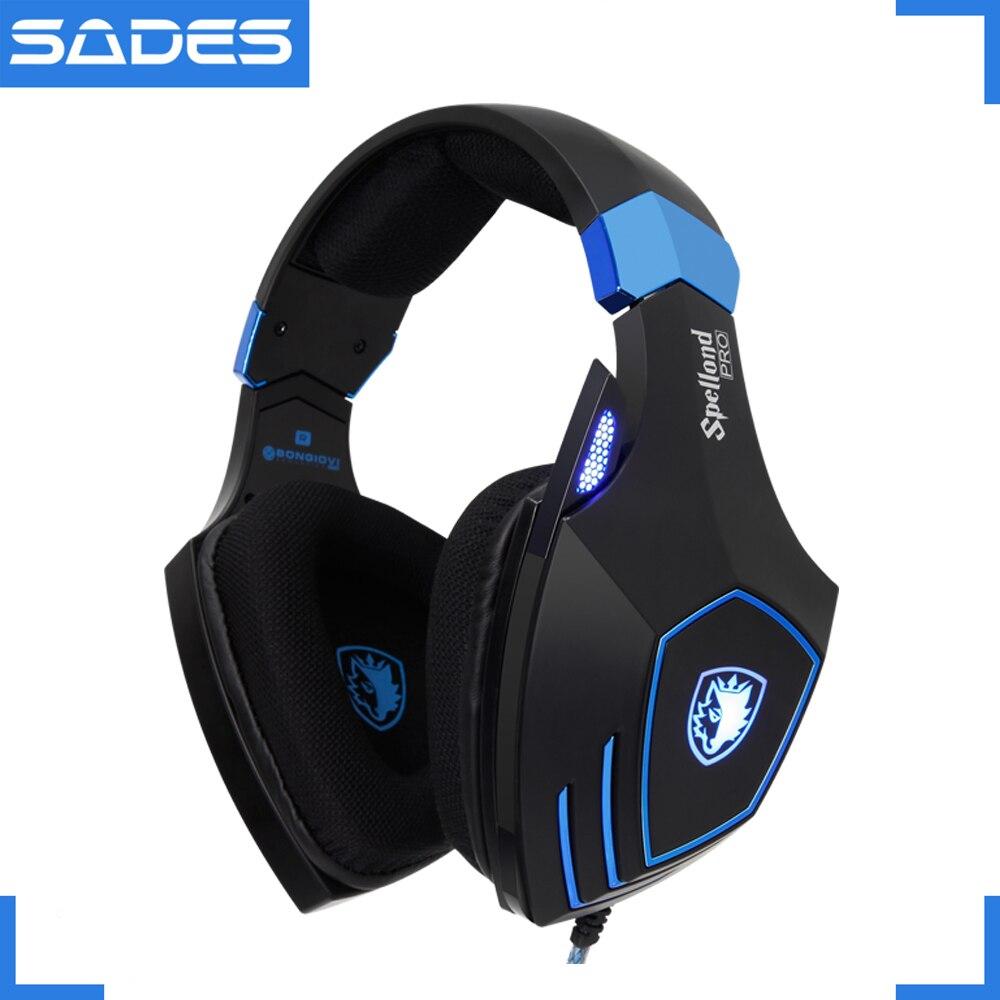Sades spellond pro bongiovi acústica gaming headset graves profundos vibração fone de ouvido microfone omnidirecional - 2