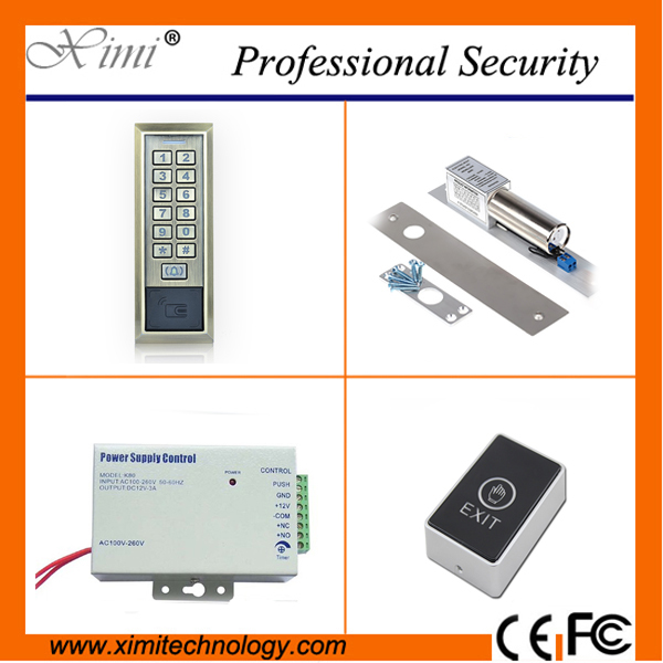 Cheap price 2000 users card access control without software+12V3A power supply+touch door swich+boly lock hot sale access kit low cost m07e access control kit without software waterproof card reader card access control device with magnetic lock