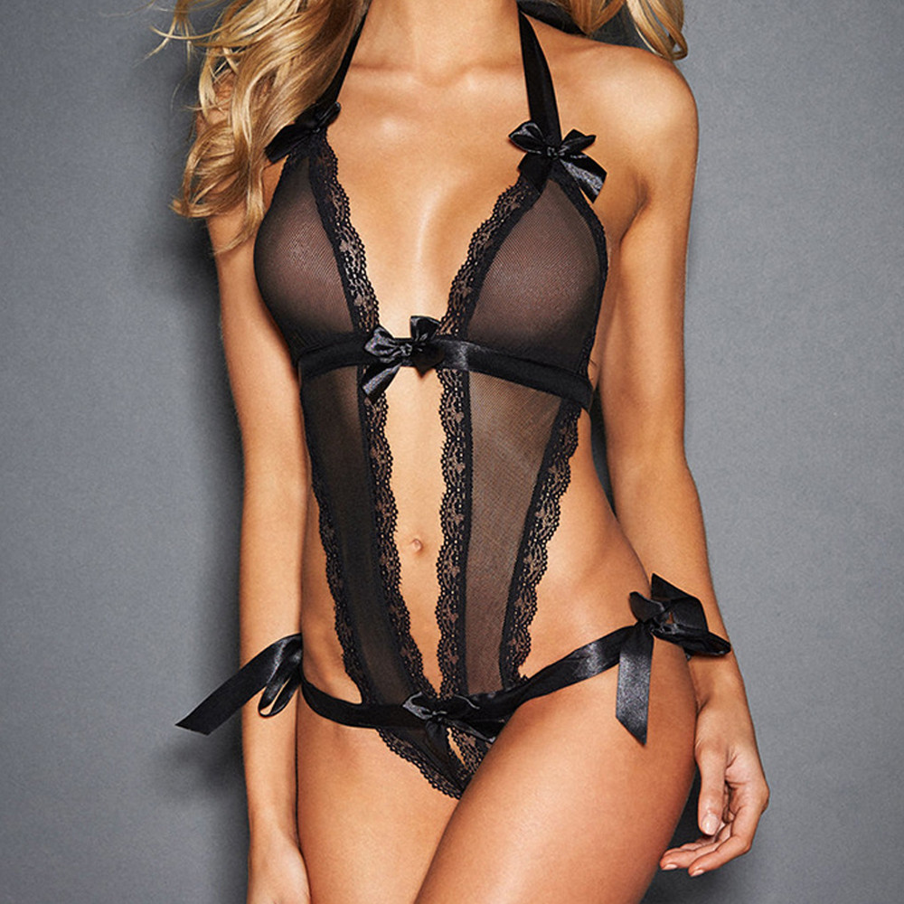 New style sexy black lace royce push up lingerie bodysuit for women