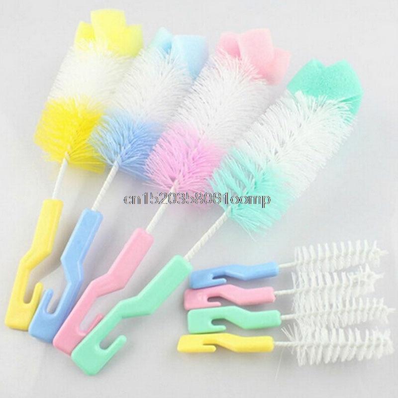 2Pc Baby Nipple Sponge Brush Bottle Brush Cleaner With Pacifier Brush #K4UE# Drop Ship sponge brush with handle