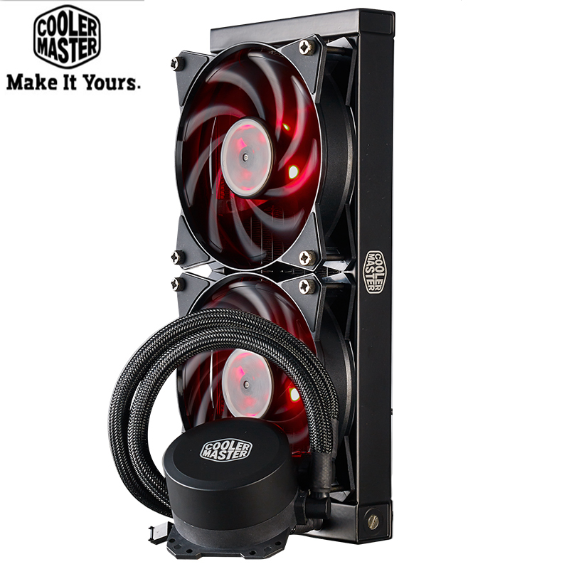 <font><b>Cooler</b></font> Master B120 B240 <font><b>CPU</b></font> Water <font><b>Cooler</b></font> 120mm Red LED Quiet Fan For Intel 1155 <font><b>1156</b></font> 2011 2066 AMD AM4 AM3 <font><b>CPU</b></font> Liquid cooling image