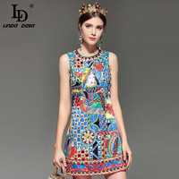 LD LINDA DELLA Fashion Designer Runway Summer Dress Women S Sleeveless Noble Diamonds Beading Vintage Straight