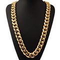 """35"""" 21mm Width Solid Aluminum Heavy Chain Twisted Miami Cuban Curb Chain Necklace In Boys Men Bling Bling Hiphop Jewelry"""